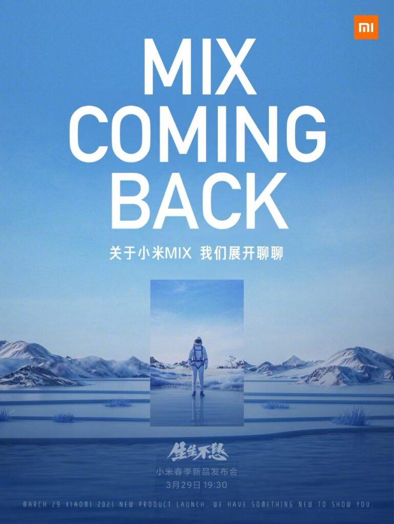Xiaomi Mi Mix sẽ chính thức xuất hiện trở lại vào ngày 29/3/2021